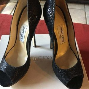 Authentic Jimmy Choo black sequin /glitter heels